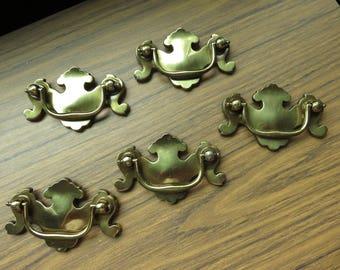 Vintage Lot of 5 Brass Finish Ornate Drawer Pulls