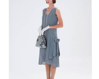 1920s-inspired flapper dress in grey with drape and bow, 1920s fashion, Great Gatsby dress, Downton Abbey dress, high tea dress, 20s dress
