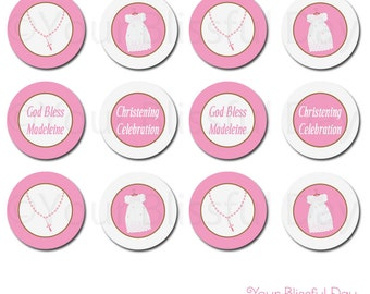 PRINTABLE Baby Girl Christening/Baptism Party Circles (Personalized) #601