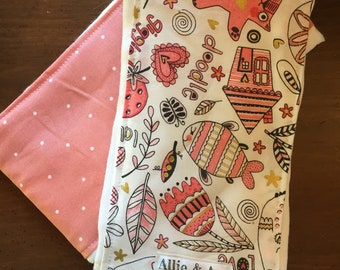 Pink Doodles Burp Cloth Set- Item 89