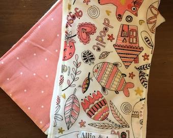 Pink Doodles Burp Cloth Set- Item 89