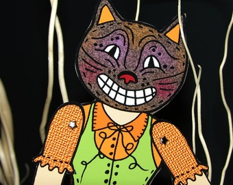 PDF Articutlated Vintage Halloween Kitty the Cat Paper doll