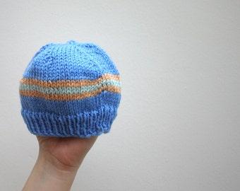 LAST CHANCE...Beanie hat - Blue striped merino wool newborn baby beanie hat