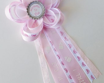 Itu0027s A Girl Mommy To Be Corsage, Baby Shower Pin, Daddy To Be,
