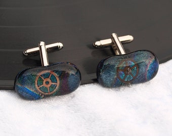 Steam punk Dichroic fused glass cuff links with clock cog - Would make a great wedding /birthday /anniversary present /gift comes gift boxed