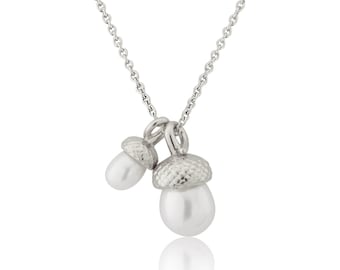 Sterling Silver Double Pearl Acorn Pendant