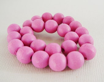 Vintage .. Wood Beads, 10mm Bubble Gum Pink Bead Jewelry Supplies
