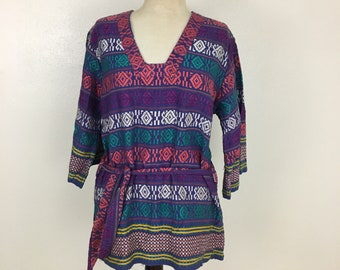 Vintage embroidered tribal South American tunic boho top Women's Medium