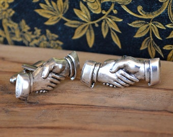 Hand shake Hands Cufflinks , Church Greeter Cuff Links , SIlver Usher Gift , Business Gift