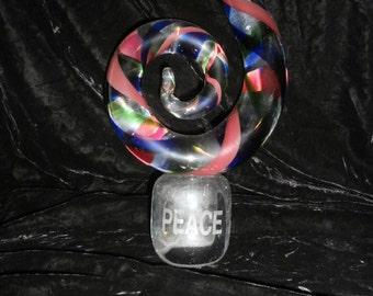 Glass Art Sculpture  Swirled  Reds ~  Blues~ Greens~Glass Sculpture Art   Signed Peace