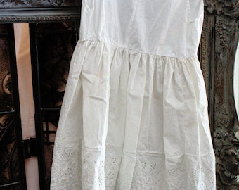 French Cotton Childs Dress Eyelet Trim Lovely Antique