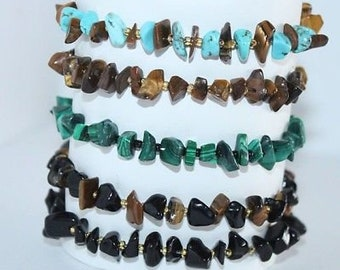 Beautiful Gemstone Bracelets! Turquoise, Tiger Eye, Malachite & Black Obsidian!!
