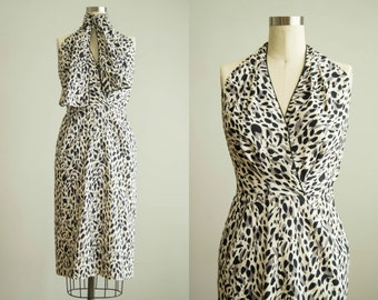 vintage 1950s dress / 50s leopard print halter dress / extra small / Snow Leopard Dress