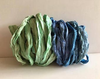 Sari Silk Ribbon-Recycled Seafoam & Blue Sari Ribbon-10 Yards