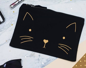 Purrfect Make Up Bag | Cat | Gift | Metallic Gold | Cosmetic Purse | For Her | Birthday