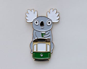 Giant tram koala pin, Melbourne tram and coffee soft enamel pin