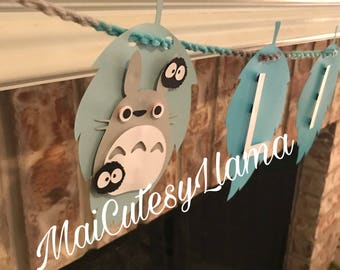 Perosnalized Name banner-Totoro-baby boy shower-My neighbor totoro-Totoro party-baby party-First Birthday-Birthday theme-Party Decor