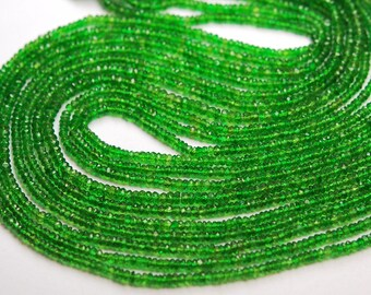 Gems Quality Strand,14 Inches Strand,AAA Super Rare Chrome Diopside Faceted Rondelles Large Size 2.75-3mm