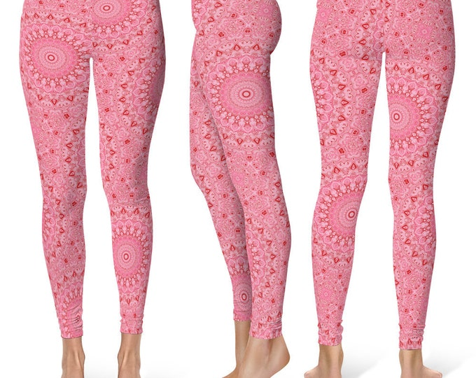 Pink Leggings Yoga Pants, Mandala Printed Yoga Tights for Women, Festival Clothing