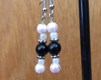 Pink, White, and Black Drop Earrings, Pink White Black Beaded Drop Earrings, Pink and Black Earrings, Black Pink White Earrings,