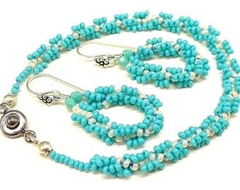 Aqua Blue Bracelet and Earrings Set - Summer Jewelry - Feminine Bracelet - Beach Cruise - B0907-01
