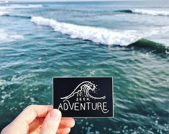 Seek Adventure. Ocean Wave Vinyl Sticker Laptop Sticker Surfing Sticker Kayaking Car Decal Surfer Bumper Sticker Snorkeling MacBook Decals