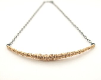 SIMPLI . Mixed Metal Bar Necklace in goldfill, oxidized silver