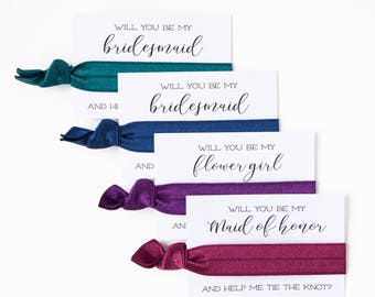 CHOOSE YOUR COLORS | Bridesmaid Proposal Hair Tie Card Gift, Wedding Party Hair Tie Favor, Bridesmaid Gift, Ask Gift, Maid of Honor Proposal