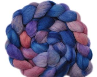 Hand dyed roving - 19μ Merino wool combed top spinning fiber - 4.2 ounces - Healing Sense 2
