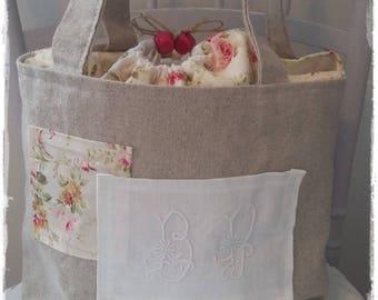linen floral fabric Monogram tote bag