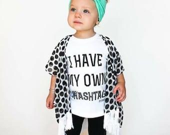 Boho Fringe Baby Kimono - Toddler Kimono Black White Polka Dots Cardigan Hippy Chic Trendy Toddler Swim Suit Beach Cover up