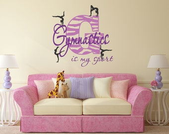Gymnastics Is My Sport Decal Zebra Decor Stripe Wall