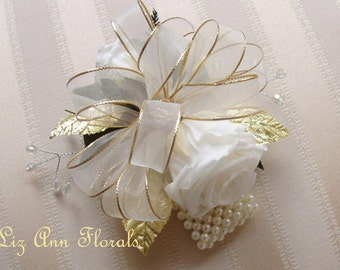 50th GOLDEN Wedding ANNIVERSARY Wrist Corsage/Pin On Corsage, with Boutonniere Set, PRESERVED Roses, Gold Wedding