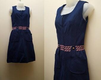 Vintage 1960s/70s Dress // 60s/70s Navy Jumper Dress Small