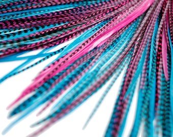 20 Real Feather Hair Extensions : B-Grade Mix #014 + Rings/Loop