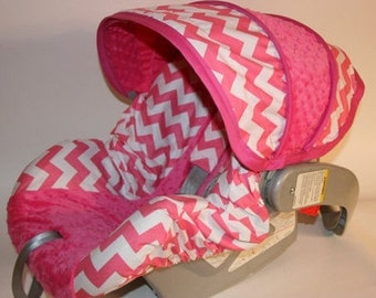 Baby Car Seat Cover set in Hot pink Chevron-Infant car seat cover-Custom Made comes with replacement canopy, bottom slipcover 2 strap covers