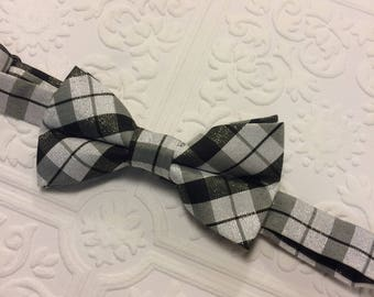 Silver baby bow tie, baby bow tie, rustic baby bow tie, black bow tie, toddler bow tie, plaid bow tie, ring bearer bow tie, birthday bow tie