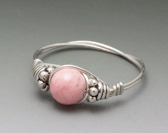 Rhodochrosite Bali Sterling Silver Wire Wrapped Gemstone Bead Ring - Made to Order, Ships Fast!