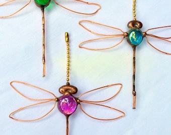 Dragonfly Fan Pull, Suncatcher,  Firefly, Ceiling pull, Shabby Chic Pull, Bohemian, baby shower, Sun catcher, Screen bug, Hostess gift,
