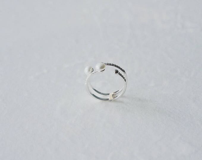 Halo, 925 silver, mother of pearl,  zircon ring