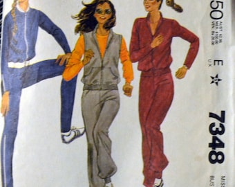 McCall's 7348 Misses' Knit Jacket and Pants Vintage 80's Sewing Pattern  Size 14 Bust 36 inches Complete Uncut FF
