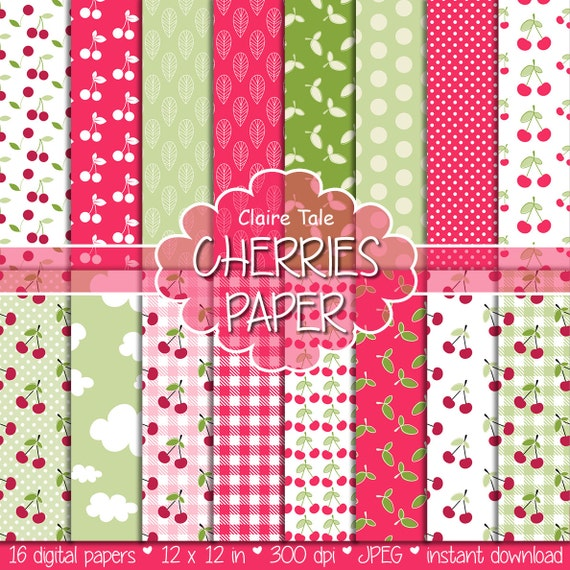 "Cherries digital paper: ""CHERRIES"" paper pack with cherries pattern, polka dots, gingham, leaves in red and green for scrapbooking"