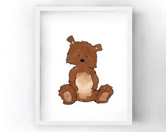 Bear Nursery Art Print - Woodland Animals Art