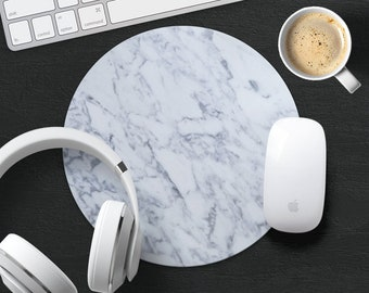 Marble Mouse Pad White Marble Mouse Mat Stylish MousePads Round Coworker Gift Computer MousePad Mat Desk Accessories Decor Office Supplies