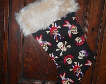 Skull Christmas Stocking With Faux Fur