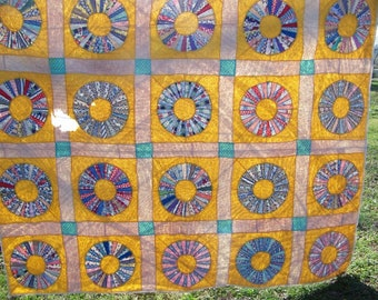 Vintage Feedsack Yellow Quilt Hand Done Needs Repair Quilt Project Repair Quilt Dresden Plate Quilt