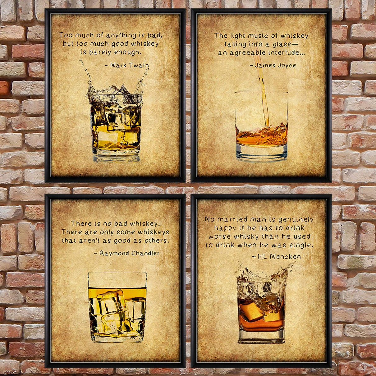 Whiskey Prints Discounted Set of 4 Bar Art Whiskey