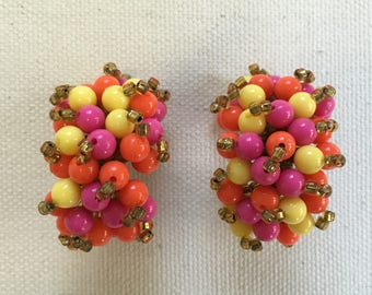 1950s Zesty Beaded Cluster Earrings