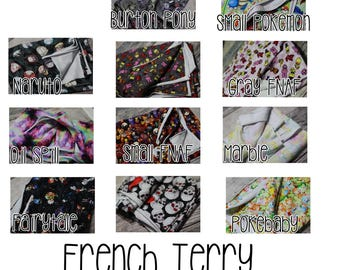 1 yard French Terry RETAIL cuts Anime, Pony, Unicorns, and more