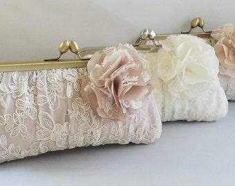 Blush Bridal Clutch, Lace Bridal Clutch, Ivory Clutch, White Clutch, Champagne Clutch, Wedding Purse {Couture Lace Gathered Pleat Kisslock }